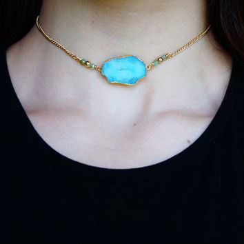 DRUZY GEMSTONE CHOKER - Trendy Crystal Necklace Boho Chic Modern Gypsy Gypset Style Agate Gifts for Teens - Charlie Girl Gems