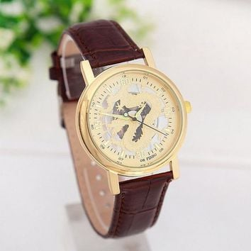 men s sports gold tone dragon watches with brown leather strap novelty 2