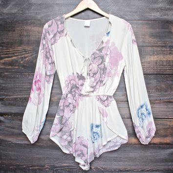 romantic floral romper - cream
