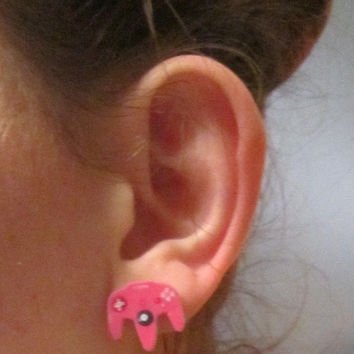 Pink Nintendo Controller Earrings, Nintendo Earrings, Geek Jewelry, Gifts for Nerds, Gamer Girl, Post Earrings, Ear Plugs, SMALL