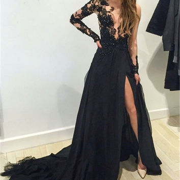 Elegant Sheer Applique Sexy Slit Black Evening Dress With Long Sleeve  Pageant Dress Formal Gowns Party Dress