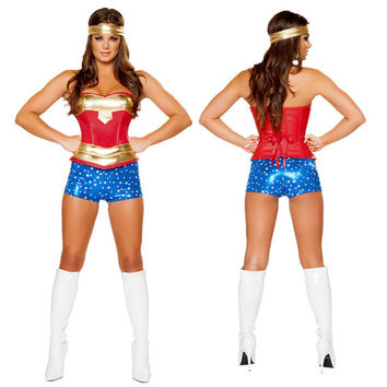 Wonder Women Sexy Costume Roma Heroine Hottie Captain Hero America Halloween Costumes Superwoman Cosplay S M L XL XXL