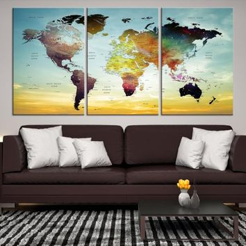 95805 - Grunge Large World Map Canvas Print, World Map Wall Art, Wall Art World Map Canvas Print, World Map Push Pin, World Travel Map