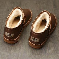 UGG Fashion leather boots boots in tube Boots Golden G-A0-HXYDXPF