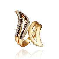 Gold Plated Swirl Ring with Onyx Jewel Ring