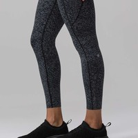 "Lululemon Fast & Free 7/8 Tight II (Nulux 25"") - Soundwave Alpine White Black - lulu fanatics"