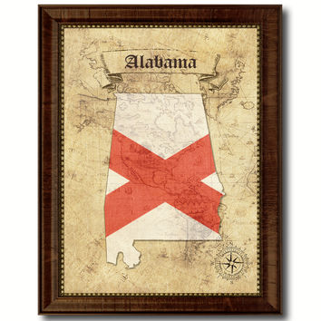 Alabama State Vintage Map Home Decor Wall Art Office Decoration Gift Ideas