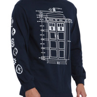 Doctor Who TARDIS Blueprint Long-Sleeved T-Shirt