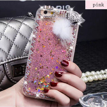 Handmade Rhinestone  Quicksand iphone 6 6 plus case iphone 4 iphone 5s cover  Luxury fox samsung galaxy note 3 note 2 case  s4 s5 phone case