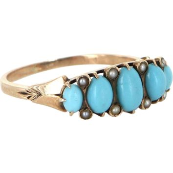 Antique Victorian Turquoise Seed Pearl 10 Karat Rose Gold Ring Vintage Fine Jewelry 5
