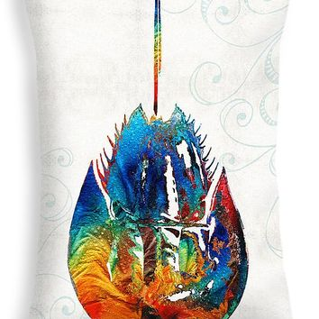 "Colorful Horseshoe Crab Art by Sharon Cummings Throw Pillow 20"" x 14"""