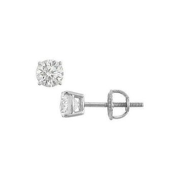 14K White Gold : Round Diamond Stud Earrings – 0.50 CT. TW.