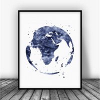 Earth Globe Black Art Print Poster