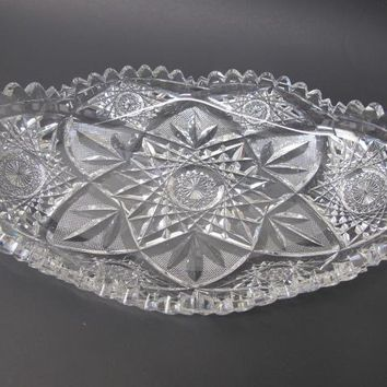 Signed Libbey American Brilliant Period Cut Glass oval tray