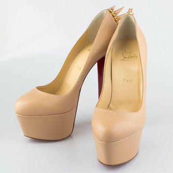 CREYDC0 NWT CHRISTIAN LOUBOUTIN Nude Leather Electropump 160 Spike Pump Heel 5/35 $995