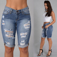 Half Ripped Jeans Denim Shorts