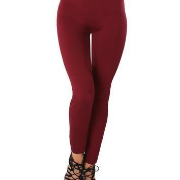 LL548 Comfy and Cozy Burgundy Winter Fleece Leggings