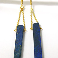 Blue Lapis Lazuli Gemstone Earrings Long Gold Dangle Understated Handmade