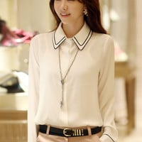 White Long Sleeve Pointed Flat Collar Chiffon Blouse