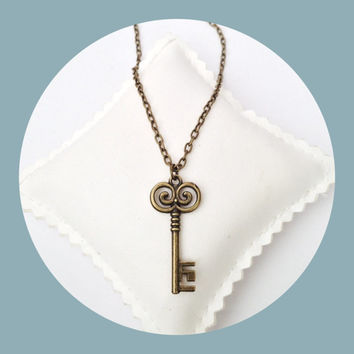 Skeleton key necklace in  bronze colour on chain - vintage style jewellery - cute old key charm - cottage chic