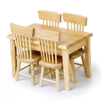 5pcs/set 1/12 Dollhouse Miniature Dining Table Chair Wooden Furniture Set For Children Toys
