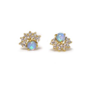 Blue Opal and Diamond Halo Studs