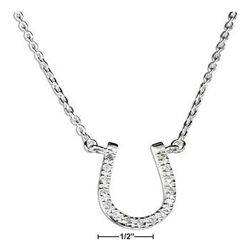"STERLING SILVER 18"" CUBIC ZIRCONIA HORSESHOE PENDANT NECKLACE"