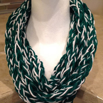 Emerald Green and White St Patrick's Day Irish Finger Knit Infinity Winter Team Spirit Chunky Scarf