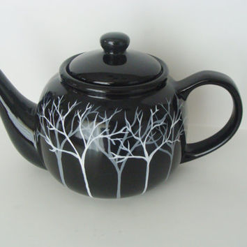 Tree Teapot Grey and White Tone on Tone Hand Painted