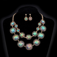 Exotic Peacock Iridescent Cabochon Layered Necklace and Earring Set