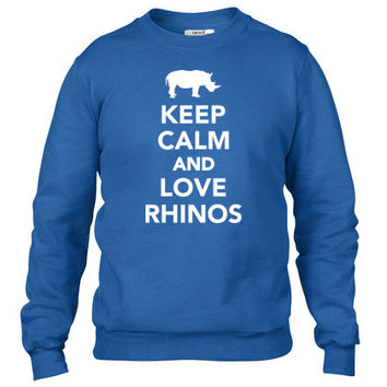 Keep calm and love Rhinos Crewneck sweatshirt