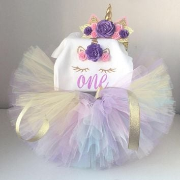 Unicorn Birthday Party Dress Newborn Baby Summer Tutu Tulle Clothes One Year Old Little Girls Clothing First Birthday Outfits