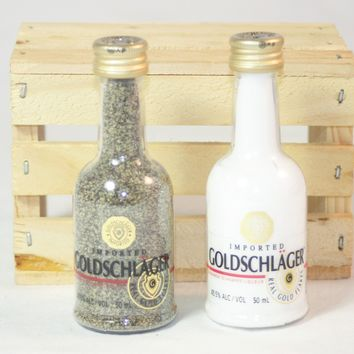 Salt & Pepper Shaker from Upcycled Goldschlager Mini Liquor Bottles