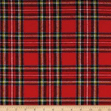 Kaufman Highlander Flannel Plaid Crimson