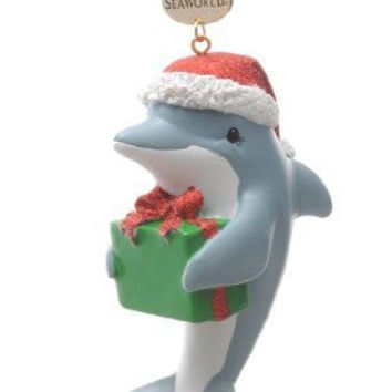 SeaWorld Dolphin with Present Resin Ornament New with Tag