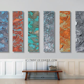 Rusted metal Abstract Painting, CUSTOM 3 panels (48 Inches x 12 Inches)  Rusted Industrial wall art - Silver, Bronze, Copper, iron,