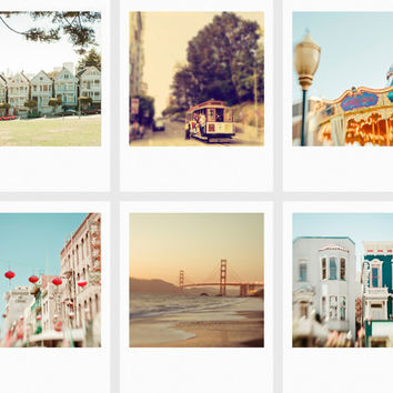 San Francisco Photography - SALE - Polaroid Style Print Set - Golden Gate Bridge, Cable Car, Chinatown, Carousel, Gifts under 25