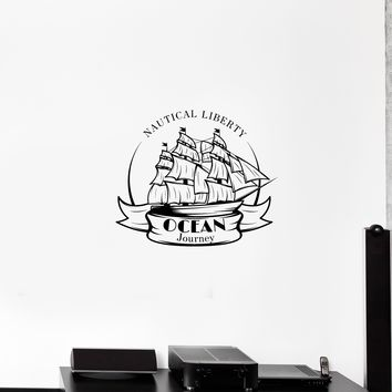 Wall Decal Sailing Ships Nautical Liberty Ocean Journey Vinyl Sticker Unique Gift (ed797)