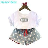 Humor Bear Girls Clothes 2017 Brand Girls Clothing Sets Kids Clothes Cartoon Children Clothing Hello Tops+Shorts Clothing Set