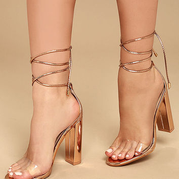 Maricela Rose Gold Patent Lace-Up Heels