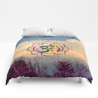 Trees Clouds Om Comforters by Azima
