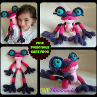 CROCHET PATTERN Only - Amigurumi Pink Poisonous Dart Frog Doll Toy for Girls & Boys - Choose Colors - Great Character Look - Fun Child Gift