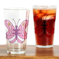 Pink Cartoon Butterfly Drinking Glass> Pink Cartoon Butterfly> cuteness