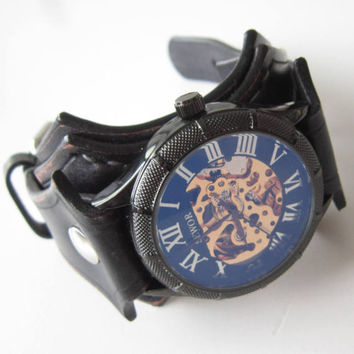 Women Watch, Steampunk Leather Watch, Gothic Watch, Black Leather Watch, Retro Womens Watch, Women Watches, steampunk women watch