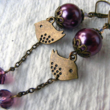 Come fly with me - antique style, dangle earrings, drop earrings, bronze bird charm