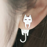 Cat Ear Jacket Earrings, Sterling Silver Ear Jacket, cat earrings, front back earrings, cat studs earrings, spike ear jacket, earring jacket