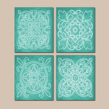 AQUA Wall Art, CANVAS or Prints, Abstract Modern, Medallion Outline, Bathroom Picture, Bedroom Artwork, Matching Decor, Set of 4 Home Decor