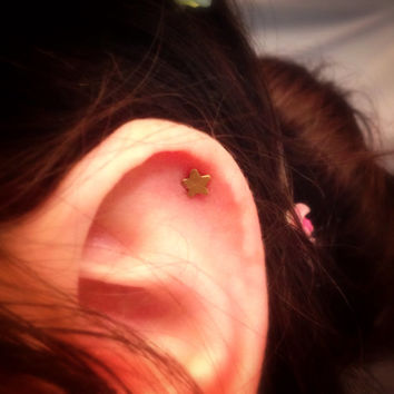Star of Gold Surgical Steel Stud Earring. Perfect for Helix and Cartilage Piercings.