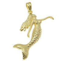 YELLOW GOLD PLATED STERLING SILVER 925 HAWAIIAN MERMAID PENDANT