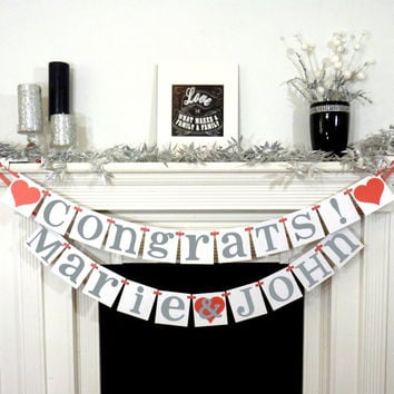 Custom Names / Congrats Banner / Backdrop / Wedding Garland Banner / Couples Shower / Photo Prop / Engagement Party / Decor / Personalized